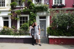 Em frente a casa aonde o filme foi rodado em Notting Hill